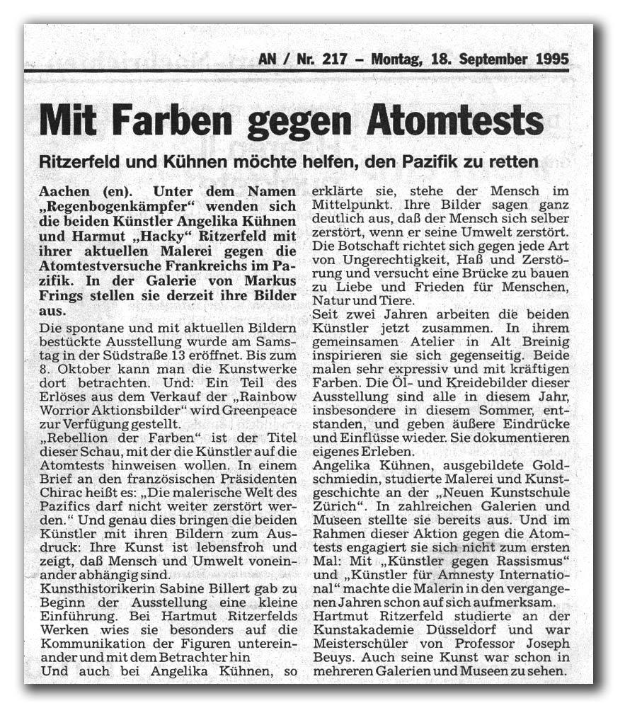 Quelle aachener nachrichten nr 217 localteil 18 september 1995